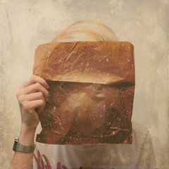 364/365 - you will find the world in an unlikely place (crvigx) Tags: selfportrait texture bag paper photography surreal galaxy 365 conceptual universe