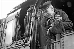 happy smoker (micagoto) Tags: bw cigarette locomotive engineer raucher dampflok zigarette lokführer locomotiveengineer d7000