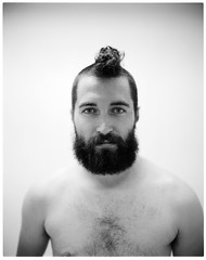 Pity Da Foo'. (christait) Tags: shirtless portrait haircut canada man calgary dave studio flash ilfordhp5 alberta shave mohawk 4x5 speedlight filmmaker iso1600 strobe speedlite ilfotechc toyo45g schneidersymmar210mmf56 davidmilan