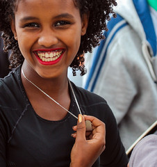 The fountain of youth (ybiberman) Tags: portrait girl smile israel teeth jerusalem lips lipstick adolescent ethiopian sigd