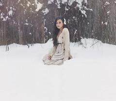 """1/1 """"Self Portrait"""" (dapphhh) Tags: portrait woman selfportrait snow nature girl beautiful model women vermont dress longhair bow snowing brunette selfie"""