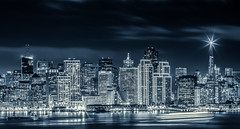 Tron City (tobyharriman) Tags: pictures sf sanfrancisco california city travel blue beautiful skyline night canon landscape photography star blackwhite cityscape treasureisland fireworks events nye scenic baybridge bayarea newyearseve newyears transamerica tron 2012 becon 2013 tobyharriman