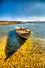 Shadow of Boat (Nejdet Duzen) Tags: trip travel blue shadow lake turkey boat dam trkiye mavi sandal gl glge turkei seyahat baraj manisa demirkprdam mygearandme demirlprbaraj