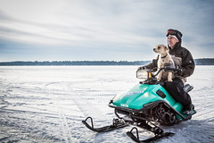 Snowmobiling (ECS Photography) Tags: blue winter dog white lake snow ice nature puppy bokeh teal goggles snowmobile