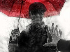 touch (marianna armata) Tags: red people woman man bus rain umbrella hand touch v r shelter mariannaarmata