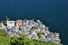 bird's eye view of Hallstatt (marin.tomic) Tags: travel blue mountain lake alps church water austria see sterreich nikon village view unesco alpine salzberg height austrian salzkammergut hallstatt d90 hallstttersee