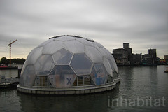 Rotterdam's Floating Pavilion (Inhabitat) Tags: architecture rotterdam thenetherlands bubbles urbandesign globalwarming dutchdesign floatinghouses daylighting rijnhaven energyefficiency halfspheres floatingpavilion waterissues floatingarchitecture rotterdamclimateproof analisaalperovich