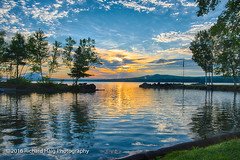Sunrise over Spencer Bay (RichHaig) Tags: spencerbay mooseheadlake sunrise nikonafsnikkor2412014ged stevenspoint caseysspencerbaycampsandcampground water me sky reflections richhaig maine nikond800 clouds wow
