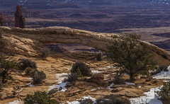 A View of Mesa Arch (Fred Moore 1947) Tags: snow mountains landscape utah us unitedstates places moab canyonlandsnp