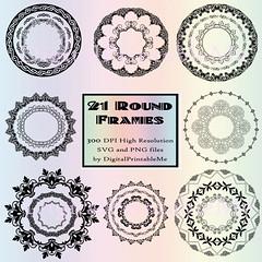 Clip Art Frames, Set, Border, 21 Images, Round, Pack, Instant... (artforahome) Tags: blog clip art frames frame svg set border digital download fancy