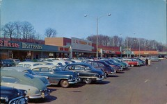 Shopping Center At Hamden, Connecticut (SwellMap) Tags: postcard vintage retro pc chrome 50s 60s sixties fifties roadside midcentury populuxe atomicage nostalgia americana advertising coldwar suburbia consumer babyboomer kitsch spaceage design style googie architecture mall shop shopping plaza