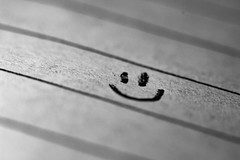 Smile... :) (sammy_boogeyman) Tags: smile blackandwhite handwriting macro canon smiley