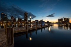 Blue Harbor (Isaac Guerrero) Tags: nationalaquarium longexposure nighttime dock reflection water bluehour innerharbor baltimore cityscape sunrise