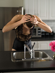 Splash (Bruce M Walker) Tags: wet water splash sink tap stream kitchen woman hair arms droplets lace shorts