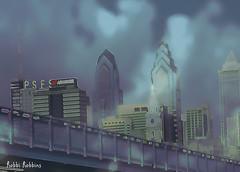 Foggy Philly (brillianthues) Tags: philadelphia city urban bridge skyline fog photography photmanuplation photoshop collage