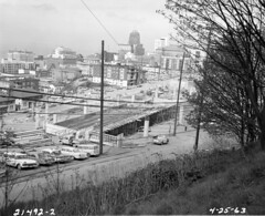 View of downtown from Yesler Terrace area, 1963 (Seattle Municipal Archives) Tags: seattlemunicipalarchives seattle firsthill skylines downtownseattle interstate5 i5 freewayconstruction 1960s