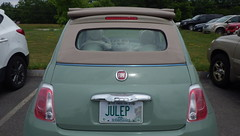 Little Julep in Carroll County lot - IMGP5435 (catchesthelight) Tags: car automobile fiat500c mintjulep licenseplate tamworthnh carrollcounty nursinghome foreigncar convertible softcover