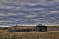 Southern landscape (Len Langevin) Tags: abandoned old house home building derelict sky cloud windmill turbine windfarm alberta canada nikon d300 nikkor 18300