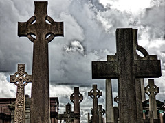 Celtic Cross (tobymeg) Tags: celtic cross cemetery glasgow necropolis panasonic dmcfz72 graveyard sky cloud grey