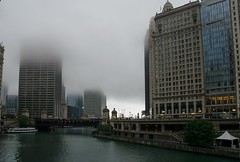 City in a cloud (Lena and Igor) Tags: us usa illinois chicago city downtown cloud street lamps river bridge buildings architecture mist fog dslr nikon d5300 nikkor 18300 telephoto zoom lens travel