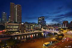 Singapore River @Blue Hour (Ken Goh thanks for 2 Million views) Tags: tall buildings architecture bridge singapore river boat quay night photography blue sky longexposure landscape colors water reflection hour stitch panaroma pentax k1 sigma 1020