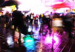 Man and Woman (Hal Skygene) Tags: man woman guy lady girl tokyo urban shibuya city night rain reflection light neon lowlight streetphotography pink color japan asia asian