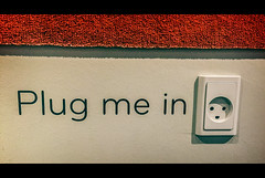 Plug me in (Melissa Maples) Tags: copenhagen denmark europe apple iphone iphone6 cameraphone mall shoppingcentre quintcity2 taastrup wallsocket plugmein text power socket outlet cinema cinematic movie 169 widescreen letterbox
