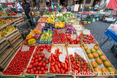 Rome, Italy- Fresh fruits and vegetables for sale in Campo de' Fiori, the largest and oldest outdoor market in Rome. It is located south of Piazza Navona. (Remsberg Photos) Tags: europe italy rome ancient ancientcivilization roman architecture tourist sightseeing photography history historical capitolcity romaprovince ancientrome modern food purchase buy sell commerce outdoor market produce fruit vegetables tomatoes ita