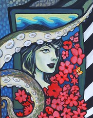 sea life by jill feenstra (Jill Feenstra) Tags: octopus tentacle art painting sea ocean pirate mermaid poppies eye patch