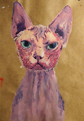 sphynx (joan n a ▲) Tags: pink blue pet colour art strange beautiful animal cat painting paper weird eyes paint acrylic purple ears ugly sphynx hairless brownpaper hairlesscat