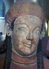 Sarcophagus of the Spouses, detail with woman's head