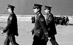 006-Policy-in front of Forbidden City (Felix FanFan) Tags: bw chinastreet beijingstreet