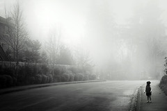 fog avenue (sparth) Tags: blackandwhite bw fog walking blackwhite washington child sony daughter redmond washingtonstate pnw brouillard bnw zelie 2012 noirblanc sammamish rx100 sonyrx100