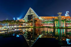 Reflections of the Dolphin (TheTimeTheSpace) Tags: light water night reflections dark stars hotel orlando swan florida dolphin disney disneyworld wdw waltdisneyworld ultrawide hdr waltdisney matthewcooper photomatix hdratnight nikond800 thetimethespace
