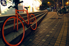 Bicycle (HIKARU Pan) Tags: street sports bike bicycle night stairs outdoors photography colorful asia shanghai gettyimages china1 24l 5d2 canonef24mmf14liiusm infinitiplaza