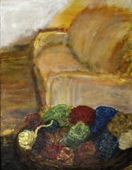 yarn (davedehetre) Tags: usa house art home painting lawrence artwork knitting basket kitty sunny couch yarn kansas