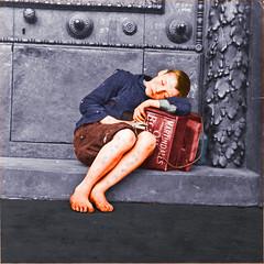 Barefoot shoeshine boy.  Liverpool, England.  c.1910