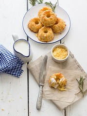 Cheese muffins with sour cream (Julicious) Tags: wood light food cheese canon baking yummy cream knife plate textile homemade rosemary muffin sour creamer foodphotography internationalfood foodstyle flickraward canon5dmarkiii me2youphotographylevel1 creativephotocafe