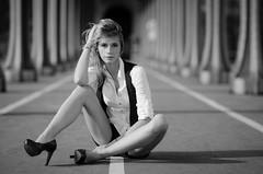 Bir-Hakeim (Explore #2) (Alexandre Moreau | Photography) Tags: bridge portrait people blackandwhite woman white black paris alex girl fashion photography intense model nikon sitting shadows looking legs lovers explore birhakeim d7000 alexandremoreauphotography