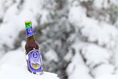 Stormy Brew (giantmike) Tags: winter snow beer weather bottle drink bokeh beverage alcohol snowing canonef100mmf28lmacroisusm hofbraudunkel