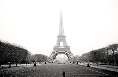 The Eiffel Tower, Paris (Amirul Arif) Tags: street travel bw white black paris france tower landscape nikon eiffel d90