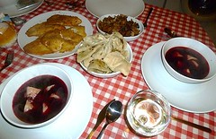New Xmas Eve experience! (helenoftheways) Tags: uk london dumplings borscht tilapia vino pierogi xmaseve beetsoup polishfood barszcz excellentwine comidapolaca pruneswithpasta