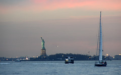 New York (Sandra A.) Tags: nyc sunset usa newyork water sailboat evening harbour dusk manhattan statueofliberty ladylibery