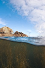 Above and below, Lundy (chewhelen) Tags: sky seaweed rocks lundy greenwater greenandblue ratisland underandover