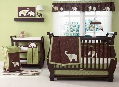 Dynamic-green-and-brown-baby-bedding-set-for-girls-with-elephant-imagery