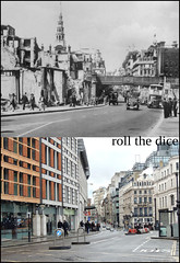 Ludgate Hill`1942-2012 (roll the dice) Tags: christmas old city uk people urban holiday london art history classic clock buses architecture naked fcc pc war traffic destruction victorian police crest collection starbucks dome ww2 local 1942 streetfurniture christopherwren fleet bombs blitz changes demolished bollards oldandnew oldbailey ec4 pastandpresent londonist squaremile bygone hereandnow firstcapitalconnect