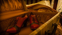 The Dame Had Her Priorities (Kimm Still) Tags: red shoes suitcase utata:project=ip165