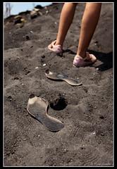 Hot On The Trail of the Son of Krakatau (GlobalGoebel) Tags: travel 2 mountain black hot canon indonesia photography eos volcano sand shoes melting legs mark ii ash 5d melt puma gunung sole volcanic krakatoa soles anak markii ringoffire mark2 krakatau 24105mm canonef24105mmf4lisusm