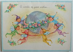 Vintage Elves/Pixies Greeting Card (MissConduct*) Tags: pink blue cute green yellow glitter vintage illinois pointy purple ears pixie collection elf card pixies sparkly greeting elves madeinusa casuals missconduct oldglorycottage