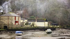 Winter Low Tide At Lerryn - Nr. Fowey, Cornwall. (john lunt) Tags: uk morning winter chimney england cold west colour art horizontal digital canon john river lens landscape eos photo solitude cornwall image zoom britain mark pano smoke tide low country scene panoramic photograph ii 5d 70300mm idyllic fowey tranquil tranquillity lunt lerryn tonemapped 5dmk2